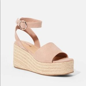 JustFab Suede Woven Wedges -BLACK